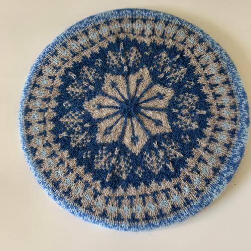 Glenfarg Beret Blue Pattern