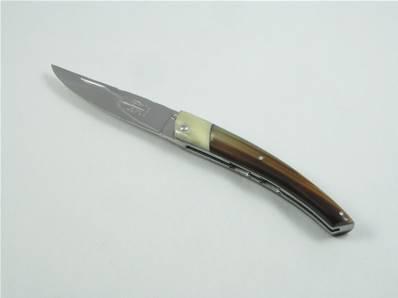 Couteau Le THIERS 12cm corne blonde et os G.David