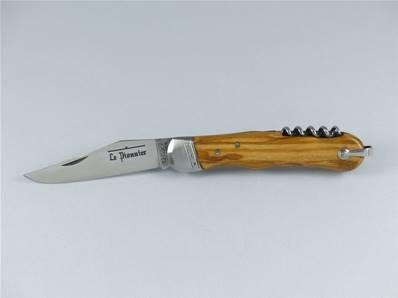 Couteau pliant tire-bouchon PIONNIER manche en olivier