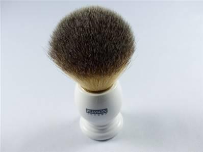 Brosse à barbe synthétique et résine ivoire Plisson