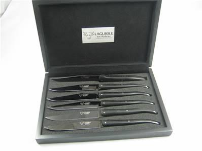 6 couteaux de table Laguiole lame titane