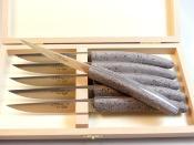 6 couteaux de table pierre de lave par Locau