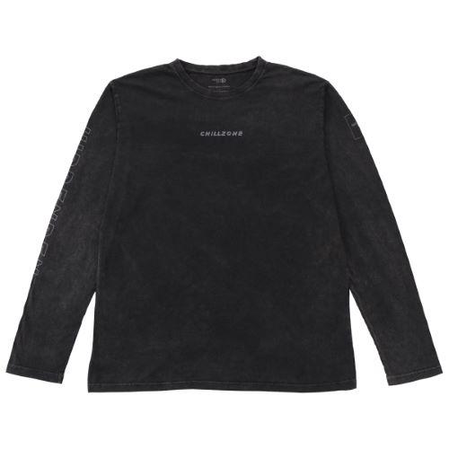 N°5 - Camiseta de manga larga negra desteñida algodón orgánico