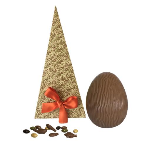 Petit Oeuf chocolat Lait garni dans son Cornet surprise
