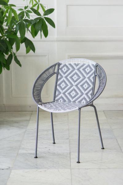 Fauteuil medium gris clair et blanc