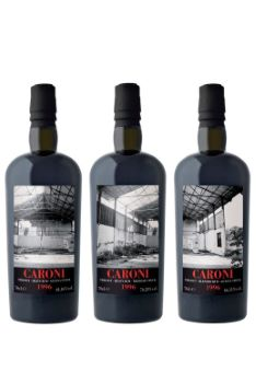 CARONI Collection Trilogy, 3 bouteilles: 20 ans 1996 Trilogy Blended Guyana Stock 70,28% ; Trilogy Heavy Guyana Stock 64,46% ; Trilogy Blended Guyana Stock 66,11%