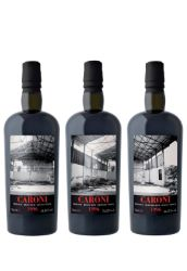 CARONI Collection Trilogy, 3 bouteilles: 20 ans 1996 Trilogy Blended Guyana Stock 70,28% ; Trilogy Heavy Guyana Stock 64,46% ; Trilogy Blended Guyana Stock 66,11%
