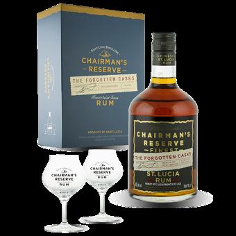 Coffret Chairman's Reserve Forgotten Cask 40% (Bouteille + 2 verres)