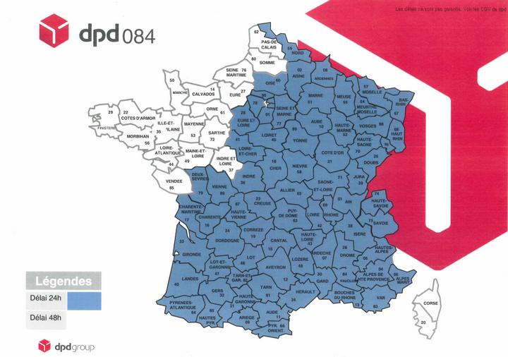 Carte des délais de livraison DPD