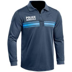 Polo bleu marine manches longues Police Municipale