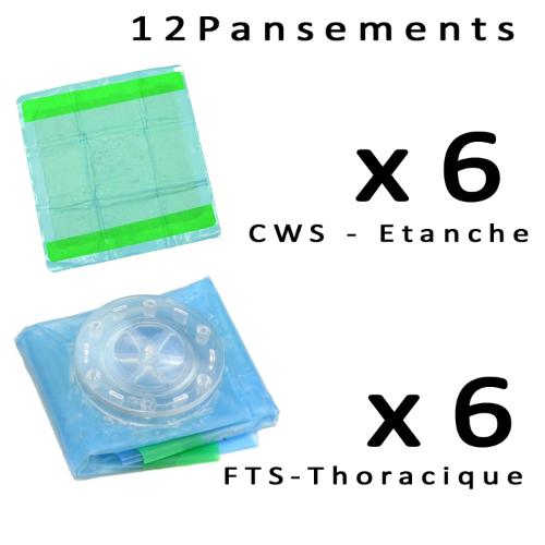 Pack de 12 Pansements 6 thoracique FTS + 6 étanches CWS