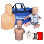 Pack 3 Mannequins de formation RCP : Adulte + Enfant + Nourrisson - Version économique + Défibrillateur