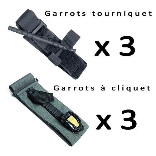 Pack de 6 Garrots 3 à cliquet + 3 tourniquet
