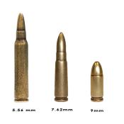 Pack de 3 balles fictives 9 mm - 7.62 mm - 5.56mm