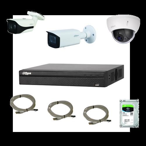 Pack vidéo <b>Filaire IP</b> 2 caméras + 1 minidome motorisé