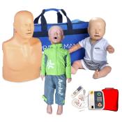 Pack 3 Mannequins de formation RCP : Adulte + Enfant + Nourrisson - Version Plus + Défibrillateur