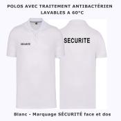 Polo marquage SECURITE<br>Blanc - Lavable 60°<br>Traitement antibactérien