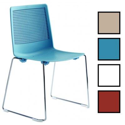 GUALTA LUGE - Chaise polypropylène empilable traineau - Bleue