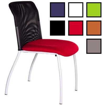 ERMONT - Chaise de réunion empilable en tissu/filet - Noire