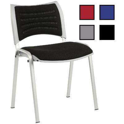 CAHORS - Chaise de réunion empilable en tissu - Sans accoudoirs Noire
