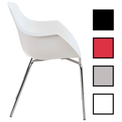 DAIX METAL - Chaise visiteur empilable polypropylène et métal - Blanche