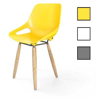 KUOPIO 4P - Chaise 4 pieds en bois et plastique - Jaune