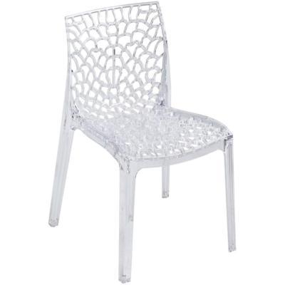 CROCY - Chaise empilable en polycarbonate ajourée transparente