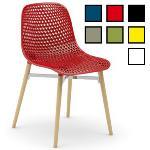 SEOUL - Chaise visiteur design en bois et plastique