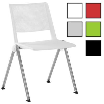 LITZ - Chaise réunion plastique accrochable et empilable - Blanche