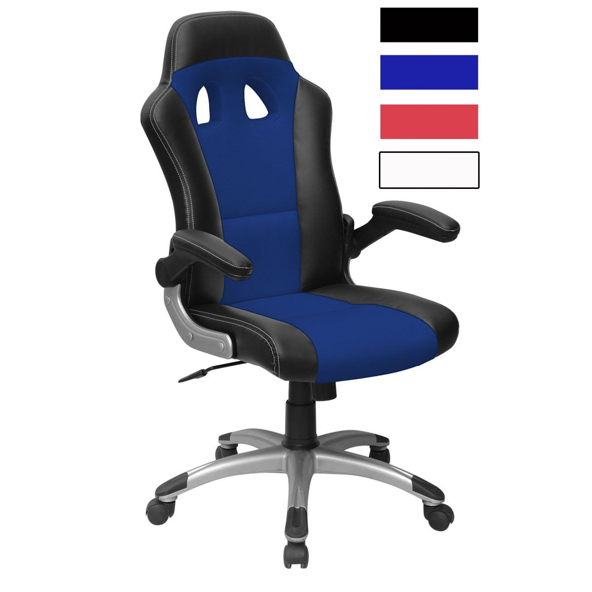 GAMERS - Siege de bureau baquet 7 coloris - Noir et Bleu