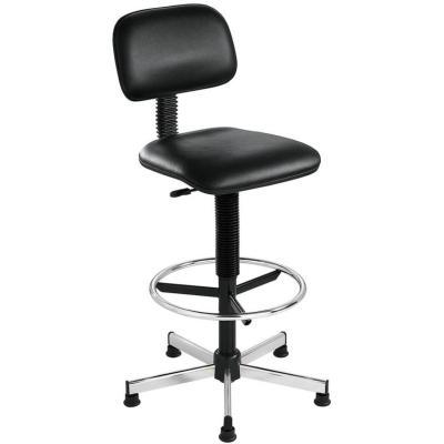 VIRRAT - Chaise haute de caisse en similicuir noir