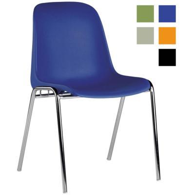 MILLAU - Chaise réunion en plastique assise coque - Bleue
