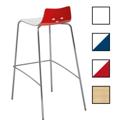 KAJAANI - Tabouret haut en bois et métal - Blanc/Rouge