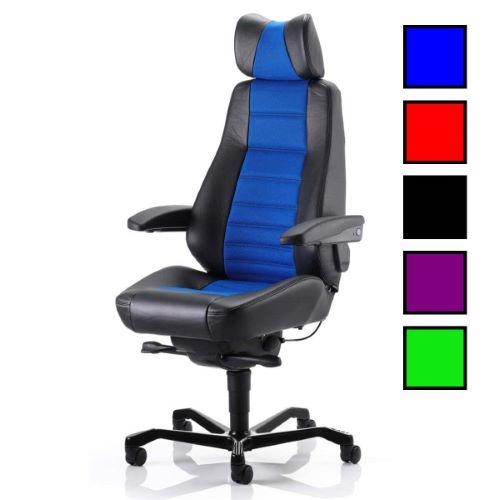BEXLEY - Fauteuil de bureau usage intensif avec haut dossier - Tissu Bleu