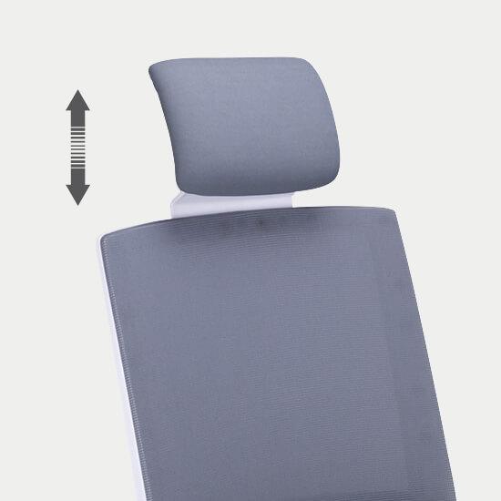 Zoom sur la têtière réglable du fauteuil de bureau ergonomique Gap