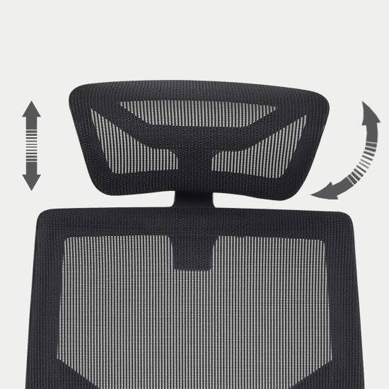 Zoom sur la têtière réglable du fauteuil de bureau ergonomique tissu Theix
