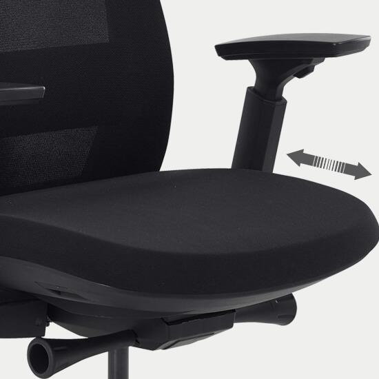 Zoom sur la translation d'assise du siège de bureau en tissu filet confortable Orly