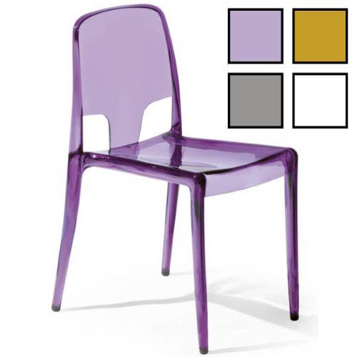 JINJU - Chaise design en plastique transparent coloré - Violette