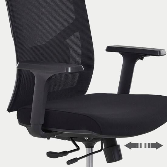 Zoom sur la profondeur d'assise du fauteuil de bureau Zalana