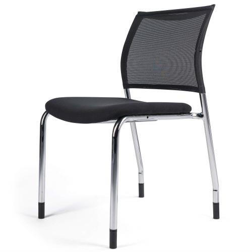 SOACHA - Chaise d'accueil tissu/résille empilable - Noire Sans Accoudoirs