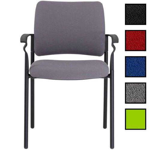 CENON - Chaise empilable en tissu avec accoudoirs - Grise