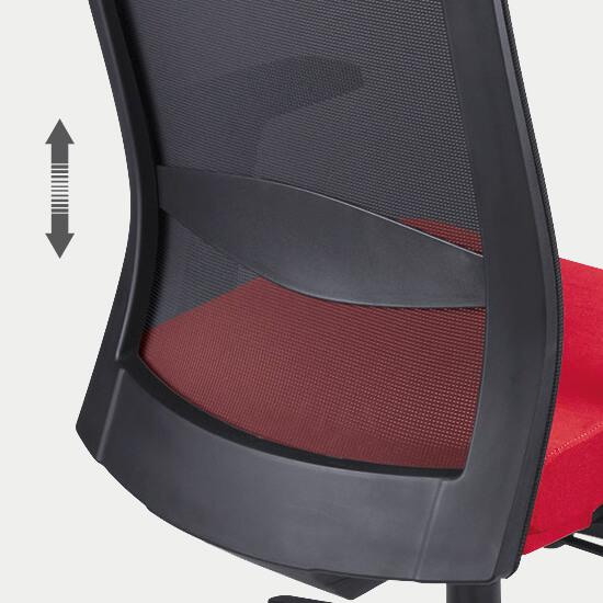 Zoom sur le support lombaire réglable du fauteuil de bureau ergonomique tissu et filet Massy