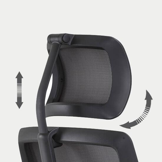Zoom de la têtière du fauteuil de bureau synchrone Roncey