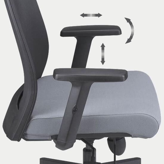 Zoom sur les accoudoirs 3D réglables du fauteuil de bureau ergonomique tissu et filet Massy