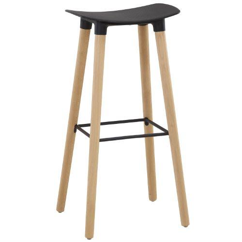 AGEN - Tabouret polypropylene/bois style scandinave