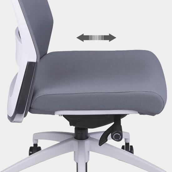 Zoom sur le réglage de la profondeur d'assise du fauteuil de bureau ergonomique Gap