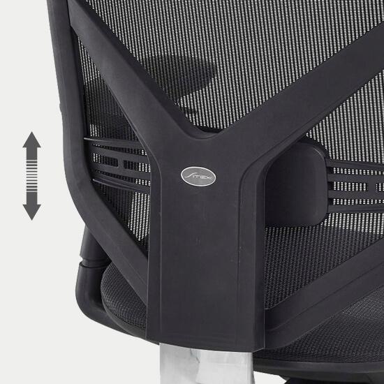 Zoom sur le support lombaire réglable du fauteuil de bureau ergonomique tissu Theix