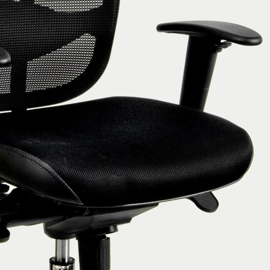 Zoom sur le mécanisme synchrone du fauteuil de bureau ergonomique anti mal de dos Kadan