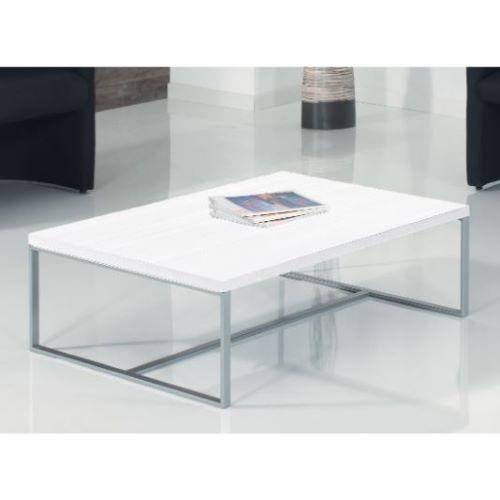 TURKU - Table basse rectangle mélaminé acier
