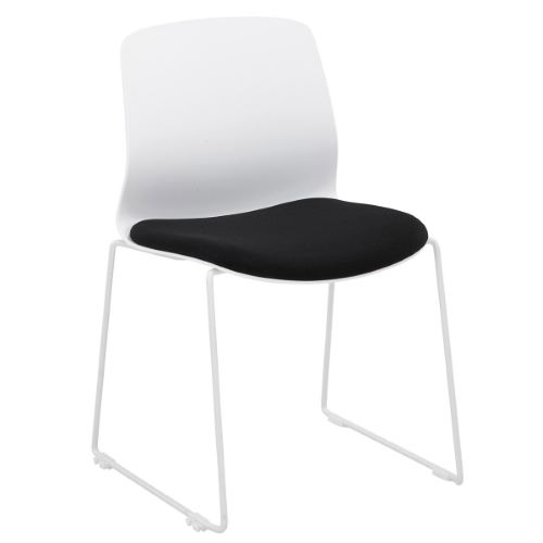 ISSY - Chaise d'accueil plastique/tissu empilable